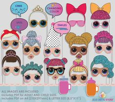 Little Dolls Photo Booth Props for colorful doll party 6th Birthday Parties, 9th Birthday, Girl Birthday, Surprise Birthday, Party Props, Party Themes, Party Ideas, Doll Party, Photo Booth Props