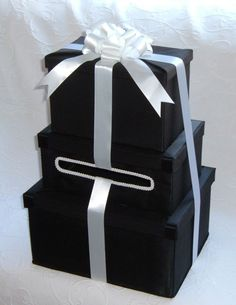 ELEGANT Black and White TUXEDO Wedding Card Money Box    Three Package Box. $125.00, via Etsy.