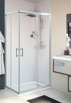 Mampara rectangular para plato de ducha, puertas correderas, entrada en esquina.