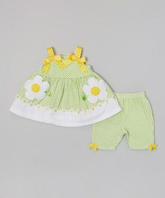 Loving this Green Gingham Daisy Bow Dress & Leggings - Infant on #zulily! #zulilyfinds
