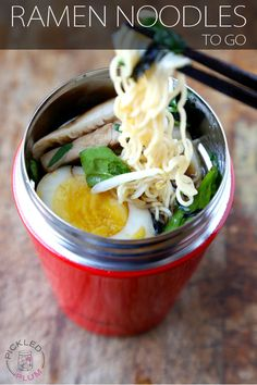 Make your own Ramen cup noodles and take it work! Get this easy and yummy Ramen Noodles To Go Recipe from Pickled Plum - Over 350 printable recipes!
