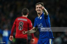 Andy King of Leicester City celebrates after scoring a goal to make it 2-1 during the Barclays Premier League match between Leicester City and West Bromwich Albion at the King Power Stadium on March 01, 2016 in Leicester, England.
