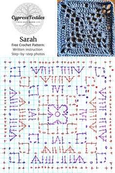 Crochet Motif - Sarah and Rose Squares - cypress Granny Square Crochet Pattern, Crochet Diagram, Crochet Stitches Patterns, Crochet Squares, Crochet Chart, Crochet Motif, Crochet Designs, Knitting Patterns, Sewing Patterns