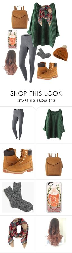"""leaf piles"" by rowennnnn ❤ liked on Polyvore featuring NIKE, Timberland, Loeffler Randall, J.Crew, Casetify, Armitage Avenue and Barbour"