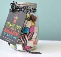 Personalised Teacher gift tags - Featuring five fun sayings relating to School and teachers, these tags are cleverly worded to compliment jars of biscuits, sweets, plants and other gorgeous teachers' gifts - www.macaroon.co