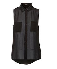 Black (Black) Black Sheer Stud Collar Sleeveless Shirt || New Look  19,99€