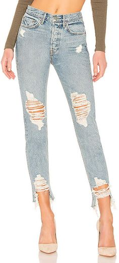 Looking for Karolina Crop High-Rise Skinny Jean GRLFRND ? Check out our picks for the Karolina Crop High-Rise Skinny Jean GRLFRND from the popular stores - all in one. Diy Ripped Jeans, Holey Jeans, Cropped Jeans, Skinny Jeans, Double Breasted Jacket, Plus Size Summer, Revolve Clothing, Jean Outfits, Distressed Jeans