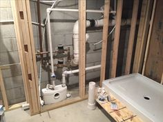 Saniflo bathroom with behind wall macerator.