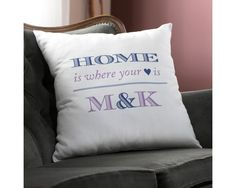 Wedding Gifts Diy Personalized Wedding Pillow - Blue Home - Luxurious natural linen is paired with the durability of polyester to Wedding Pillows, Wedding Linens, Personalized Pillows, Personalized Wedding, Blue Throw Pillows, Throw Pillow Covers, Home Interior Accessories, Preparing For Marriage, Marriage Preparation