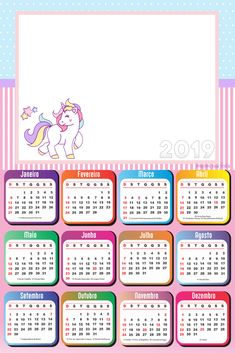 Calendário 2019 do Unicórnio | Imagem Legal Calendar 2019 Printable, Daily Planner Printable, 2019 Calendar, Box Template Printable, Templates, Photo Frame Design, Unicorn Coloring Pages, Calendar Design, Periodic Table