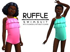 Ruffle Swimsuit for Girls - Onyx Sims