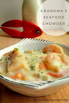 Custom Nutrition : Recipe The Best Seafood Chowder. On the off chance that You Love Seafood, You Will Love This Recipe. My Grandmother Makes It At Christmas And The Whole Family Cannot Get Enough. Seafood Bisque, Seafood Stew, Fish And Seafood, Best Seafood Chowder Recipe, Seafood Soup Recipes, Lobster Bisque, Seafood Pasta, Shrimp Pasta, Fish Chowder