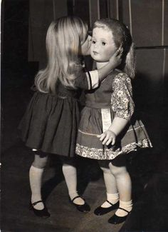 Vintage 1962 U s Toy Exhibition in London Young Girl with Life Size Doll Photo. This is actually Patty Play Pal. I got a brunette to match me in 1960 and she lives under my bed now.
