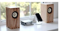 solid wood bookshelf speakers by bekerwerks design. www.bekerwerks.com