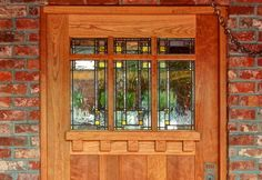 Craftsman door - love the FLW style glass Fiberglass Entry Doors, Wood Entry Doors, Garage Doors, Pallet Shutters, House Front Door, Front Porch, Front Entry, Antique French Doors, Craftsman Style Doors
