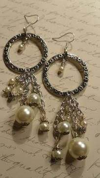 Hammered Silver & Glass Pearl Earrings - NO FEES & FREE SHIPPING!!
