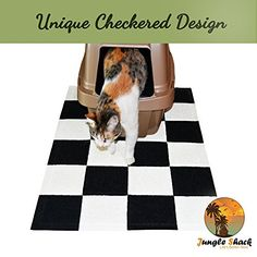 Cat Litter Mat XL -Best Extra Large Easy to Clean Mats -Quickly Brush Away Debris -Deep Grooves to Catch Kitty Litter Scatter -Durable Non-Slip Bed -Great for Litter Boxes -Purrfect for Paws!
