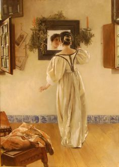 Laura Theresa Alma-Tadema (née Epps (English painter) 1852 - 1909, A Knock at the Door, 1897, Opus unknown, oil on panel, 25 1/8 x 17 5/8 in. (63.82 x 44.77 cm.), Currier Museum of Art