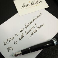 """Schon Picasso wusste es: """"Action ist der Schlüssel zum Erfolg!""""  Bring deine Einzigartigkeit zu Papier mit #Premiumtinte und einer edlen #Füllfeder von www.nota-nobilis.at  #Premium #tinte #erfolg #success #ink #sailorpen #conklin #diamine #noodlers #füller #Füllfederhalter #fountainpen"""