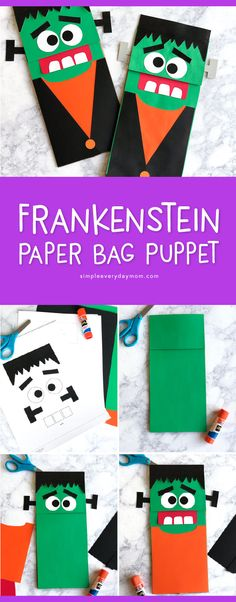 october crafts Make this easy Frankenstein craft for kids this Halloween with just a few supplies. It's the perfect Halloween activity for home or the classroom! Halloween School Treats, Halloween Class Party, Halloween Activities For Kids, Halloween Party Supplies, Halloween Kids, Nanny Activities, Toddler Activities, Halloween Decorations, Frankenstein Craft