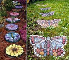 25 Excellent DIY Mosaic Garden Decoration Ideas for Front and Backyard Landscaping - Insidexterior - My Garden Decor List Decorative Stepping Stones, Garden Stepping Stones, Garden Paths, Garden Art, Garden Design, Tire Garden, Path Design, Garden Kids, Concrete Garden