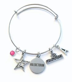 Valedictorian Jewelry Charm Bracelet Graduation Gift For Daughter Granddaughter Student Silver Bangle College Her Star Ager