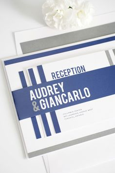 Modern masculine navy blue and pewter gray wedding invitations. These wedding invites create an amazing look when stacked together! What are your wedding colors?