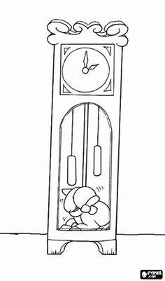 Pintar La cabreta més petita s'amaga dins del rellotge i se salva de l'atac del llop Coloring For Kids, Coloring Pages For Kids, Coloring Books, Wolf, Small Goat, Fairy Tale Crafts, Fairy Tale Activities, Album Jeunesse, Online Drawing