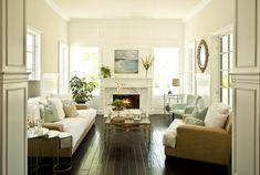 cottage decor - oversized linen seating,  brass, polished nickel, neutrals & seafoam