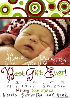 Christmas Birth Announcement by KellyMDesign on Etsy, $15.00