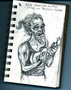 This was an old hippie I saw sitting with friends and playing the ukelele on Baldwin Beach.
