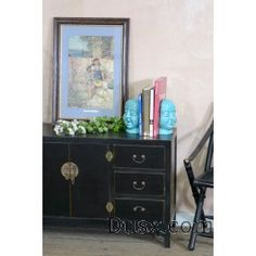 Lou Lan Black Cabinet: For sale at www.DusX.com: A wonderfully stylised piece from our Loulan collection, this chest of drawers sits low to the groun