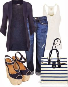 Bleu marine,blanc et jeans,l'ensemble indémodable qui passe toujours super bien