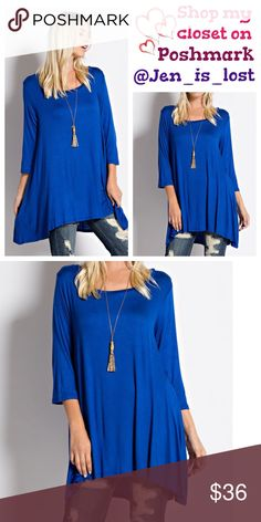 Cobalt Blue 3/4 Sleeves A-Line Tunic Top  Medium Cobalt Blue 3/4 Sleeves A-Line Tunic Top  Fabric: 95% Rayon 5% Spandex.  FIT: Woman's size  (6-8). True to size.  No Trades ✅Reasonable Offers Are Considered✅ Use the blue offer button. Tops Tunics