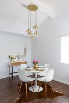 Nook: Chairs (Amazon) Table (IKEA); Light fixture (West Elm)