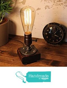 Industrial Steampunk table pipe lamp with Classic Edison bulb and Red Mahogany wood base from Urban Industrial Craft