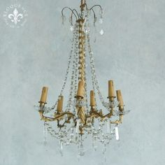 Unique Antique Chandelier in Soft Gold Tone and Long Twisted Rope Stem at Center $3,295.00 #thebellacottage #shabbychic #eloquence