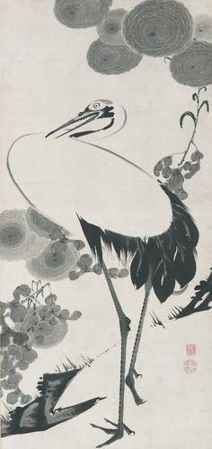 Akuchu Ito, 1716-1800. Cranes, Ink on paper .