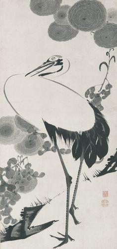 japaneseaesthetics: akuchu Ito(伊藤若冲 Japanese, 1716-1800) Cranes Ink on paper