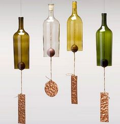 Wind Chimes Made From Glass Wine Bottles with Copper Trim Outdoor Garden Patio Decor Unique Wine Gift Home Decor Wine Bottle Chimes, Wine Bottle Corks, Glass Bottle Crafts, Wine Bottle Cutting, Reuse Bottles, Recycled Wine Bottles, Cut Bottles, Small Bottles, Bottle Cutter