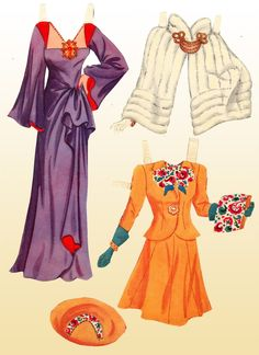 More 1942 Lana Turner paper doll clothes Paper Fashion, Fashion Art, Drawing Fashion, Vintage Fashion, Paper Dolls Printable, Christmas Paper Crafts, Bobe, Lana Turner, Dress Up Dolls