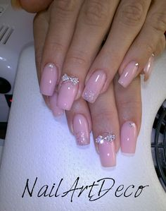 Soft pink, crystal bow, shiny, glitter <3