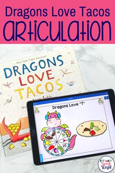 These dragon themed speech therapy digital task cards on the BOOM Learning website target articulation of 22 target sounds including: B, D, F, G, H, J, K, L, L blends, M, N, P, initial R, vocalic R, R blends, S, S blends, T, V, CH, SH, voiceless TH. This would be great to use with the book Dragons Love Tacos!