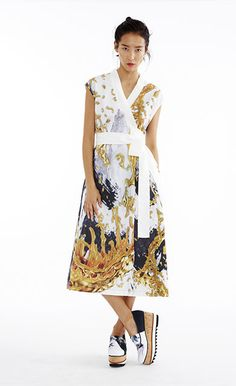 Liquid Gold Poplin Ribbon Tie Dress - Women's Spring 2015 Collection by Clover Canyon