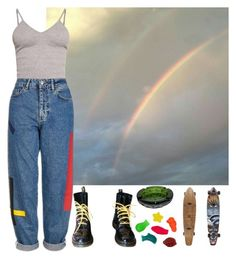 """""""the rainbow connection"""" by shinedownsiren ❤ liked on Polyvore featuring BasicGrey, Topshop and Dr. Martens"""