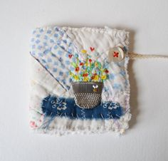 NEEDLE CASE by clever Viv at Hens Teeth : Pin Keep - small vintage patchwork quilt - Thimble Vase of embroidered flowers