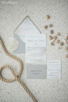 Beach Wedding Invitations With Watercolour Design