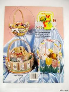 plastic canvas bunny baskets 8 spring baskets for filling with treats Plastic Canvas Stitches, Plastic Canvas Patterns, Annie's Attic, Needlecrafts, Flower Basket, Spring Time, Needlepoint, Crib, Baskets