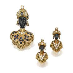18 karat gold, wood, diamond, sapphire and lapis lazuli blackamoor brooch and earclips, Nardi