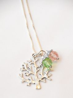 Family Tree Necklace  ~ Custom gift ~  Custom Family Charms ~ Birthstones ~ Mother's Gift ~ Grandmother's Gift ~ Tree Of Life by DivinityBraid on Etsy